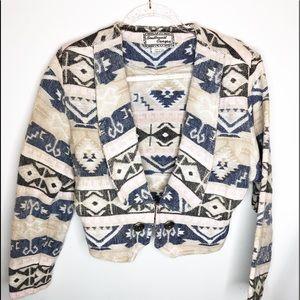 Vintage Aztec southwestern crop jacket sz med